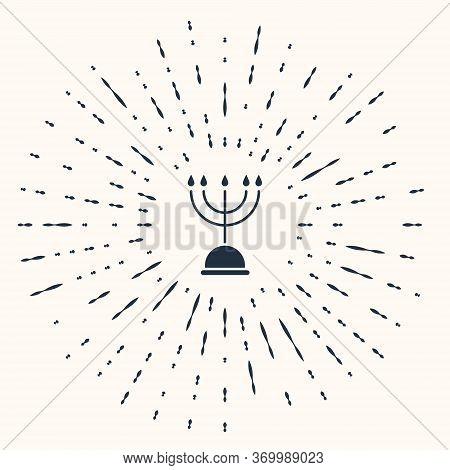 Grey Hanukkah Menorah Icon Isolated On Beige Background. Hanukkah Traditional Symbol. Holiday Religi