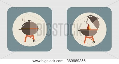Barbecue Icon Set. Bbq Time. Bbq Party. Bbq Grill Icons On Isolate Background. Bbq Button.