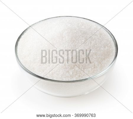 Granulated Sugar In Glass Bowl Isolated On White Background With Clipping Path