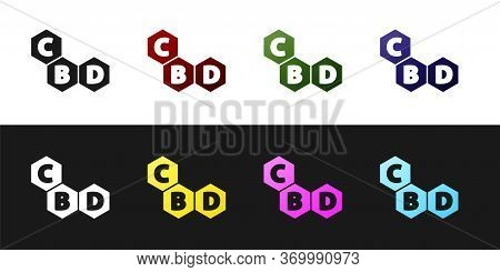 Set Cannabis Molecule Icon Isolated On Black And White Background. Cannabidiol Molecular Structures,