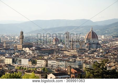 Landscape View Of Florence In The Afternoon From Piazzale Michelangelo