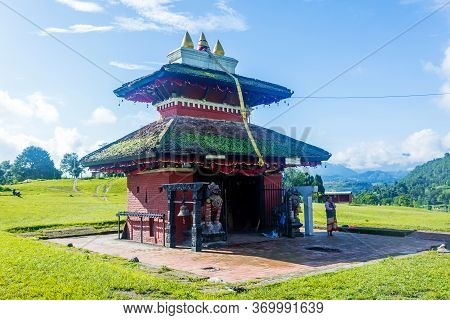 Kathmandu,nepal - June 26,2019: Hindu Temple Shree Kali Mandir At Khokana.tourist Travel Destination