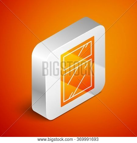 Isometric Cleaning Service For Windows Icon Isolated On Orange Background. Squeegee, Scraper, Wiper.