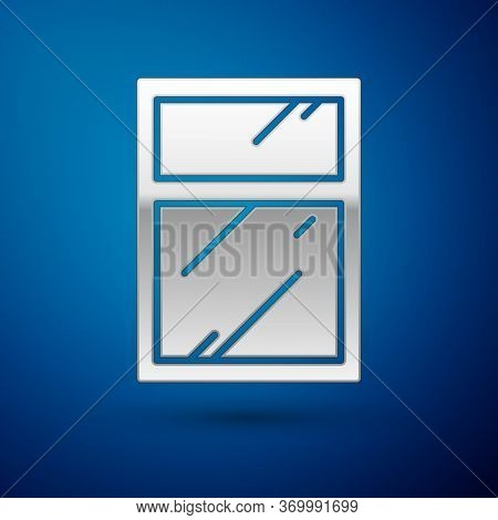 Silver Cleaning Service For Windows Icon Isolated On Blue Background. Squeegee, Scraper, Wiper. Vect