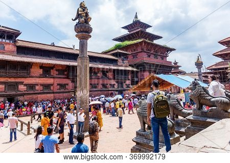 Kathmandu,nepal - August 16,2019: View Of Patan Durbar Square Premises Of Kathmandu Nepal.tourist Tr