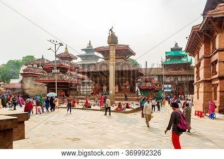 Kathmandu,nepal - June 28,2019: Hindu Temples Of Kathmandu Durbar Square.tourist Travel Destinations