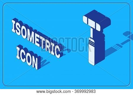 Isometric Neurology Reflex Hammer Icon Isolated On Blue Background. Vector Illustration