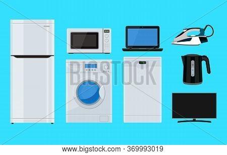 Household Appliance. Appliances. Iron, Refrigerator, Microwave, Washing Machine, Laptop, Dishwasher,