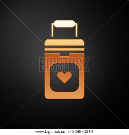 Gold Cooler Box For Human Organs Transportation Icon Isolated On Black Background. Organ Transplanta