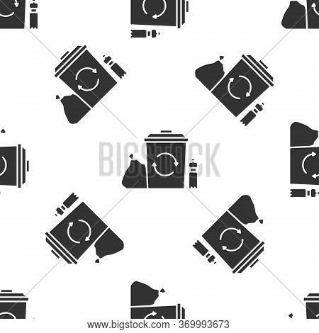 Grey Recycle Bin With Recycle Symbol Icon Isolated Seamless Pattern On White Background. Trash Can I