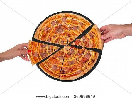 Young People Taking Slices Of Salsiccia Pizza With Beef Sausages, Mozzarella, Various Sauces And Mar