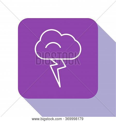 White Line Storm Icon Isolated On White Background. Cloud And Lightning Sign. Weather Icon Of Storm.