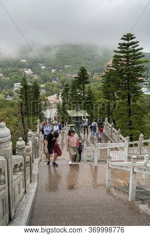 Gnong Ping, Lantau Island, Hong Kong, May 2018 - View Looking Down To Ngon Ping Village From The Top