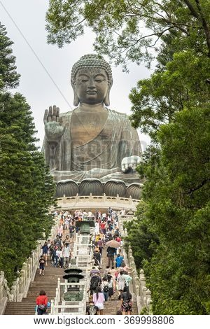 Gnong Ping, Lantau Island, Hong Kong, May 2018 - Steps Leading Up To Tian Tan Big Buddha  Statue On
