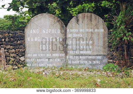 Bohol, Ph - Sept 1 - Ten Commandments Stone Tablet On September 1, 2015 In Bohol, Philippines