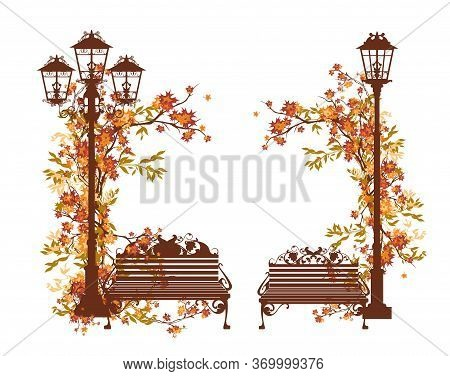 Fall Season In The Park Vector Design Set With Empty Bench And Streetlight Among Lush Autumn Foliage