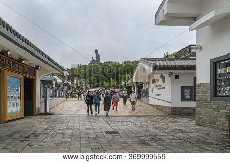 Ngong Ping, Lantau, Hong Kong, May 2018 - View Of The Ngong Ping Village With Tian Tan Big Buddha St