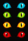 Illustration of different colored cat eyes glowing in dark poster
