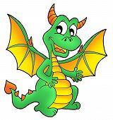 Cute green dragon with smile on face - color illustration. poster