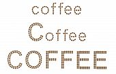 inscription of coffee is made of grains vector illustration isolated on white background poster
