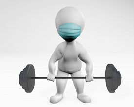 Fatty Man With A Mask Weight Lifting 3d Rendering Isolated On White