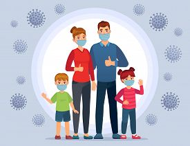 Family Wearing Coronavirus Protection Masks. Face Mask For Kids, Protect Child From Flu And Ncov Vir