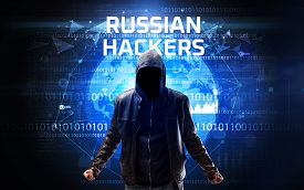 Faceless hacker at work with RUSSIAN HACKERS inscription, Computer security concept