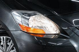 Novosibirsk/ Russia - April 28, 2020: Toyota Yaris , Detail Light Close Up Of On New Car. Exterior D