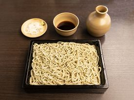 Japanese Soba Noodle With Dipping Sauce And Daikon Radish