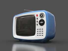Cute Old Blue Tv With Antenna On A Gray Background. 3d Illustration.