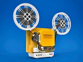 Yellow 3d Cinema Film Projector Isolated On Blue Background. 3d Rendering.