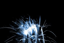 Luxury Fireworks Event Sky Show With Blue Glow Stars. Premium Entertainment Magic Star Firework At E