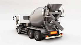 Concrete Mixer Truck With White Cab And Grey Mixer On White Background. Three-dimensional Illustrati