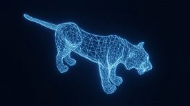 Illustration Of A Blue Neon Glowing Tiger From A Three-dimensional Grid. 3d Rendering.