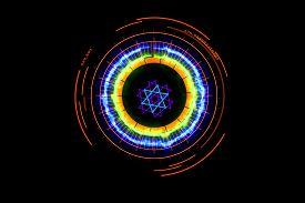 Art Dot Fade Circle And Outside Small Circle Multi Earthware Tone On Black Isolated