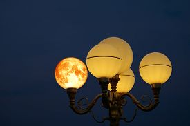 Super Blood Moon Back On Light Pole In The Night Sky