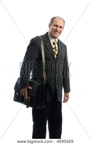 Happy Smiling Business Executive With Leather Attache Travel Bag
