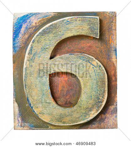 Wooden alphabet block, number 6