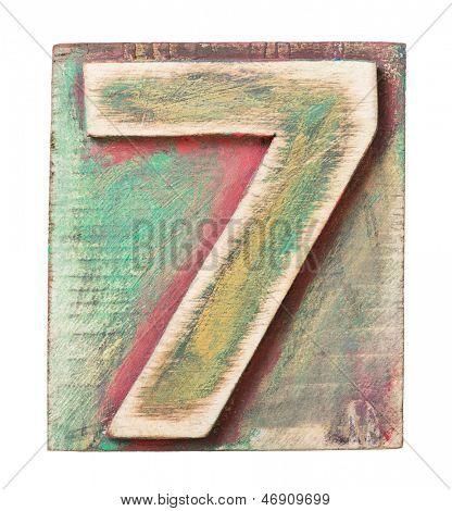Wooden alphabet block, number 7
