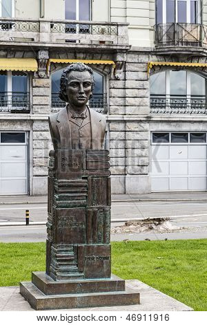 Mihai Eminescu Statue In Vevey, Switzerland