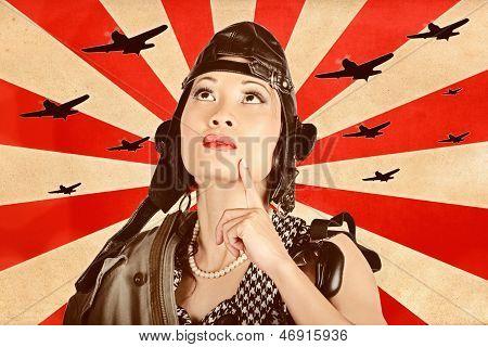 Retro Asian Pinup Girl. War Planes Of Revolution