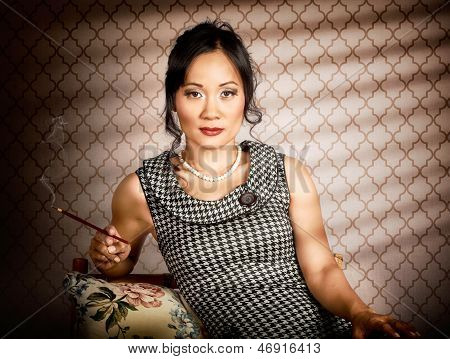 Stylish Vintage Asian Pin-up Lady With Cigarette