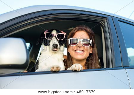 Funny Woman With Dog In Car