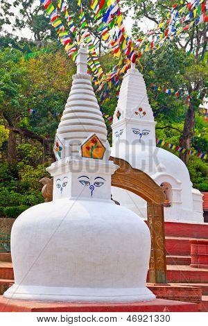 White stupas in Swayambhunath  Monkey temple, Kathmandu, Nepal.