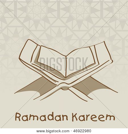 poster of Open Islamic religious holy book Quran Shareef on abstract brown background for holy month of Muslim community Ramadan Kareem.