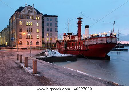 HELSINKI, FINLAND - JANUARY 12: Old lightship Relandersgrund in Helsinki, Finland on January 12, 2012. Ship was built in 1888, decommissioned in 1937, and now serves as summer restaurant