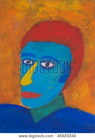 Painted Portrait Of Colorful Man