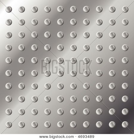 A vector illustration of a glossy metal stainless steel background or texture with nubs. poster