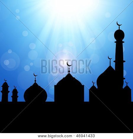 Mosque Silhouette with Sunburst