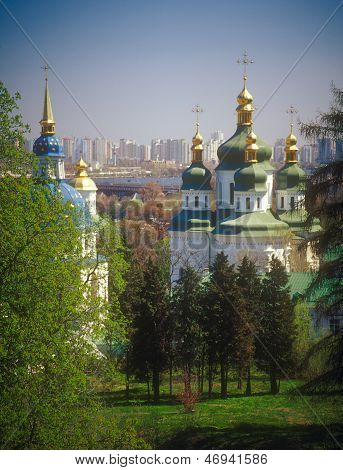 View to the Vydubychi monastery and left bank of Dnipro river. Kyiv Ukraine. poster
